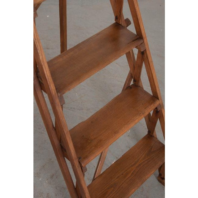 French Early 20th Century Oak Folding Ladder For Sale - Image 10 of 13