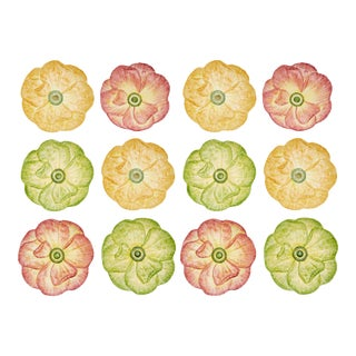 Moda Domus x Chairish Exclusive Dinner Plates in Green, Yellow, and Pink- Set of 12 For Sale
