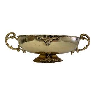 1950s Vintage Oval Brass Pedestal Bowl For Sale