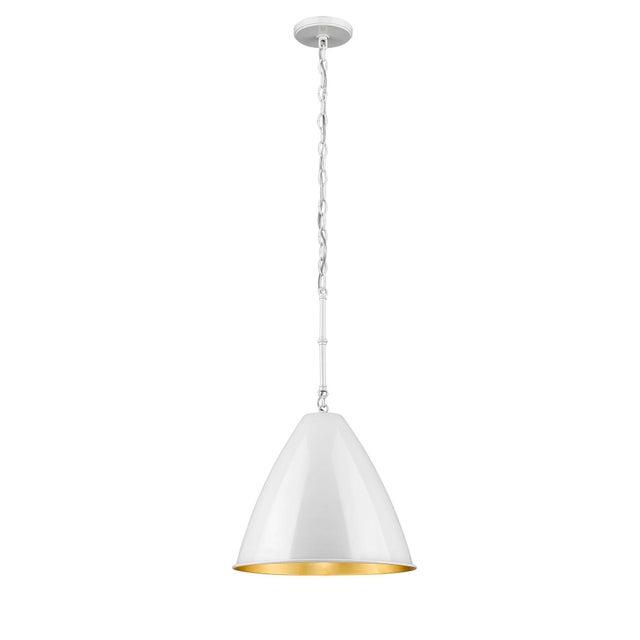 Lenox 1 Light Rod Pendant, Ceramic White and Gold Leaf For Sale - Image 4 of 5