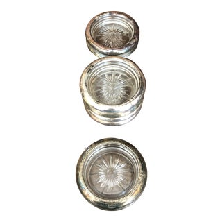 Leonard Silver Plate and Crystal Coasters - Set of Eight For Sale