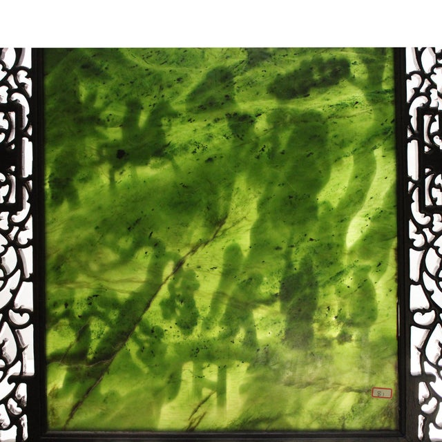 Chinese Vintage Spinach Green Stone Scenery Carving Table Top Wall Panel Displa For Sale - Image 12 of 13