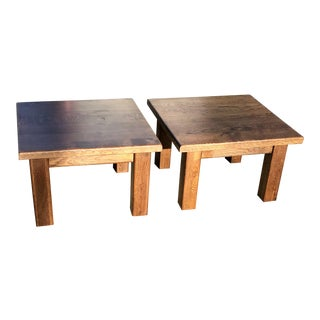 20th Century Rustic Solid Wood Block Side Tables - a Pair For Sale