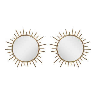 1940's French Brass Sunburst Mirrors - a Pair For Sale
