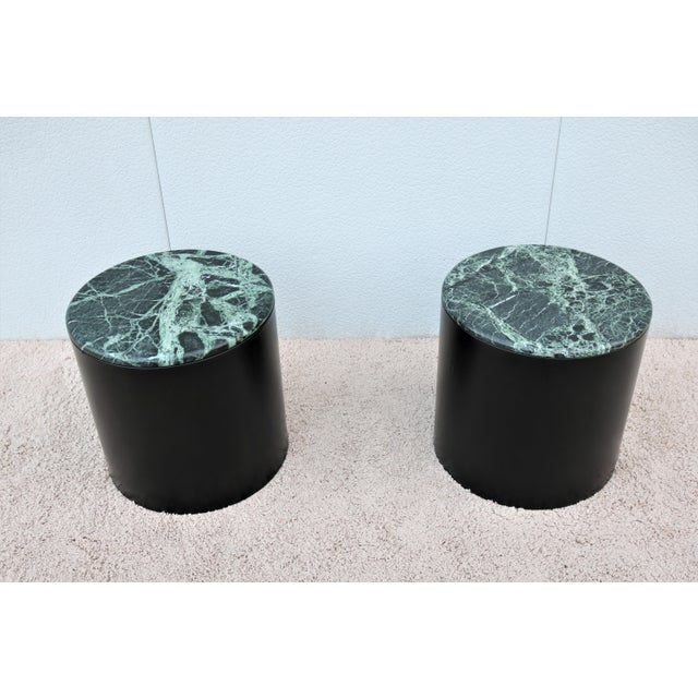 Mid Century Modern Paul Mayen Style Green Marble Top Drum Side Tables - a Pair For Sale - Image 13 of 13