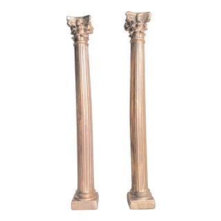 Vintage Miniature Gold Ceramic Corinthian Columns - a Pair For Sale