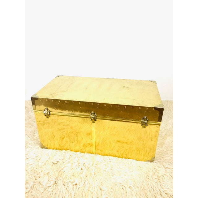 Vintage Campaign Chest Coffee Table Trunk For Sale In Las Vegas - Image 6 of 10