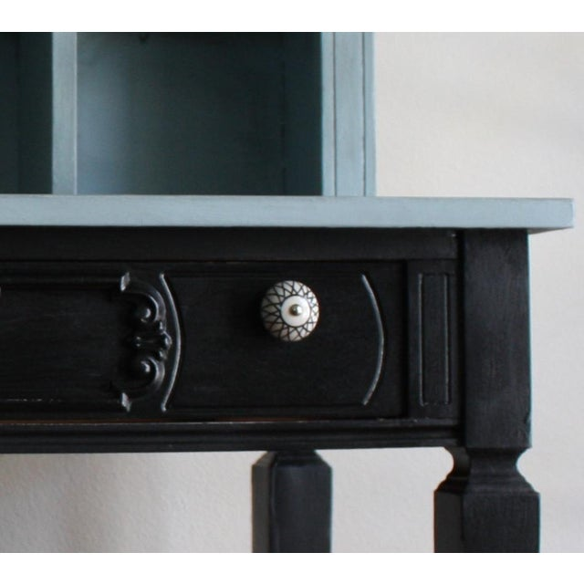 Blue Vintage Black & French Blue Custom Painted Accent Desk, For Sale - Image 8 of 11
