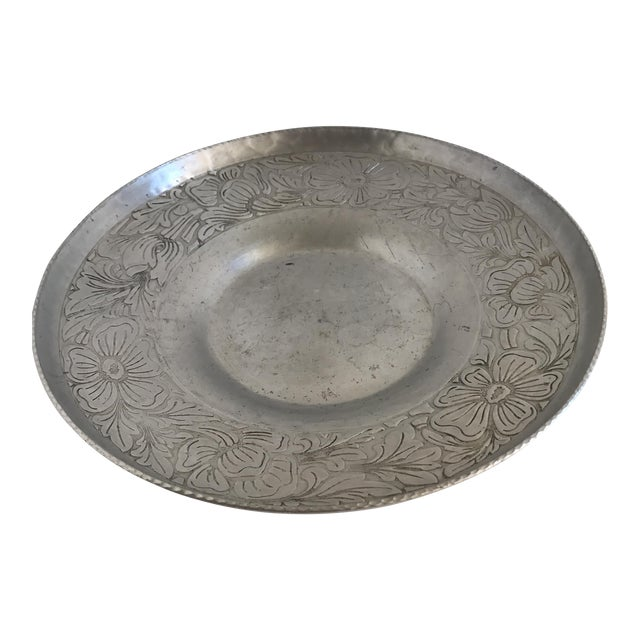 Vintage Handmade Etched Metal Tray For Sale