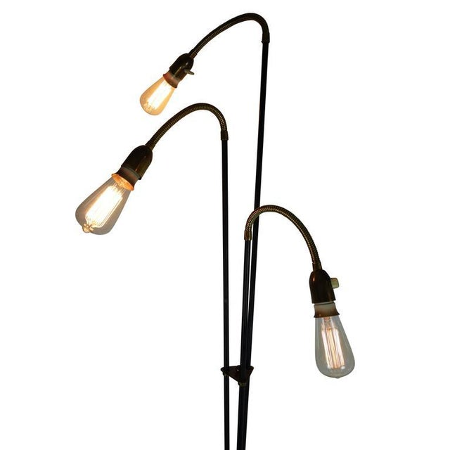 Mid-Century Articulating Tripod Floor Lamp From Denmark For Sale - Image 4 of 10