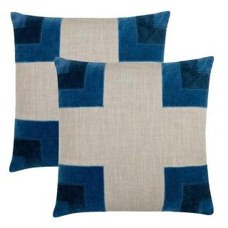 "Piper Collection Blue ""Luke"" Pillows - a Pair"