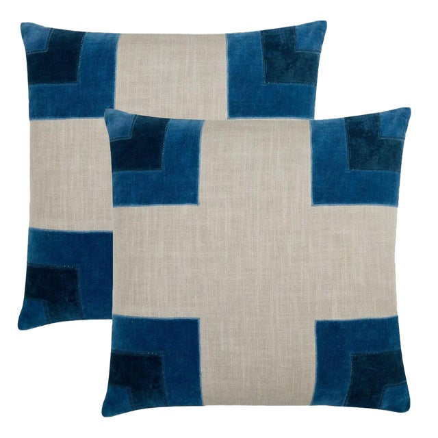 """Piper Collection Blue """"Luke"""" Pillows - a Pair - Image 1 of 2"""