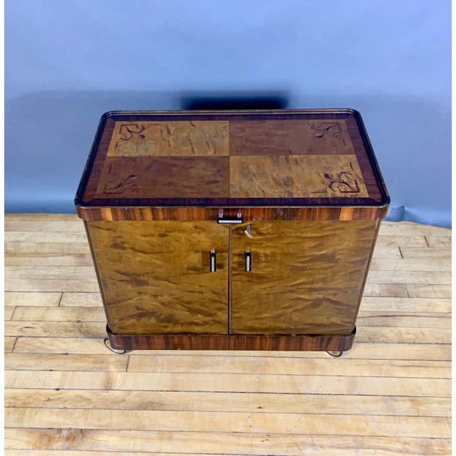 1930s Rootwood & Rosewood Bar Cabinet With Intarsia For Sale - Image 4 of 11