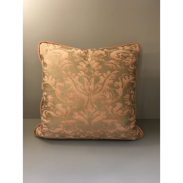 2010s Fortuny Sevigne Pillow in Melon and Silvery Gold For Sale - Image 5 of 5