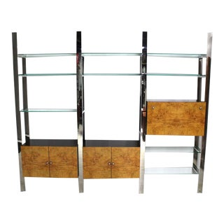 Vintage Mid Century Burl Wood Thick Glass Shelves 3 Bay Wall Unit For Sale