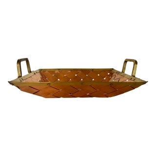 Woven Copper and Brass Tray With Handles For Sale