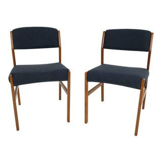 Pair of Newly Upholstered Danish Dining Chairs For Sale