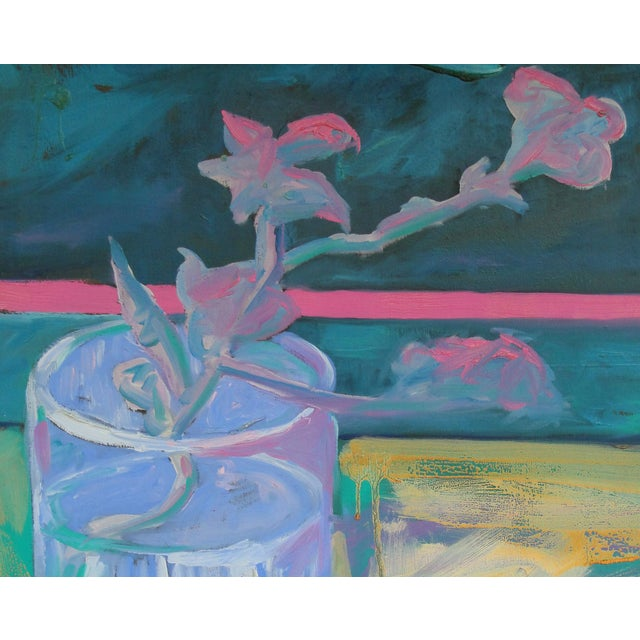 After Van Gogh: Glass With Flowering Almond Branch Painting - Image 2 of 2