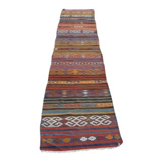 "Vintage Turkish Kilim Rug - 2'6"" x 14'2"" For Sale"