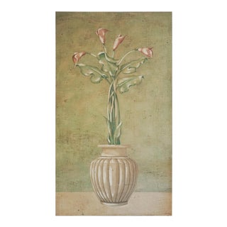 Calla Lillies Fresco Painting by Jacques Lamay For Sale