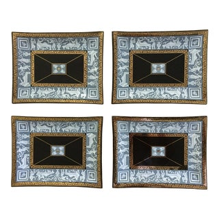 Mid-Century Cera Glass Neoclassical Greek Key Trays - Set of Four For Sale