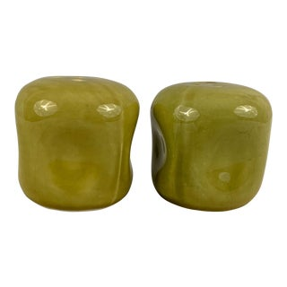 Vintage Russel Wright American Modern Salt and Pepper Shakers in Chartreuse - a Pair For Sale