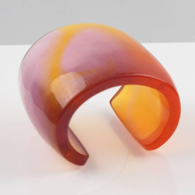 French Designer Studio Migeon and Migeon Oversized Resin Cuff Bangle For Sale - Image 4 of 10