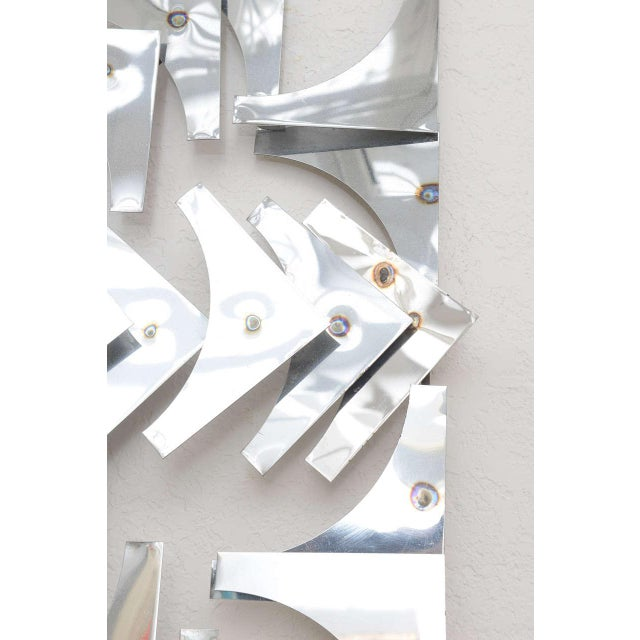 1970s, Mid-Century Modern, Pop Art, Polished Chrome, Square, 3-D Wall Sculpture For Sale In West Palm - Image 6 of 11