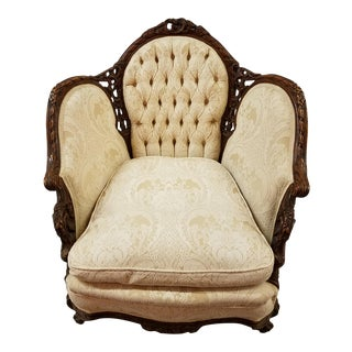 Antique Carved Walnut French Louis XV Style Bergere Arm Chair For Sale