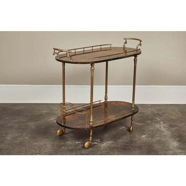 1950's Aldo Tura Parchment Bar Cart Trolley For Sale - Image 9 of 9