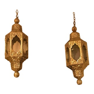 Custom Handcrafted German Silver Hanging Lamps - a Pair For Sale