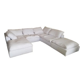 Restoration Hardware Slipcovered Cloud Modular Sofa Sectional in White Linen For Sale