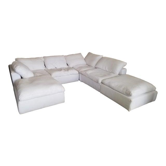 Restoration Hardware Slipcovered Cloud Modular Sofa Sectional in White Linen For Sale