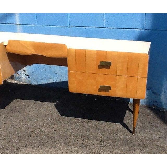 Pier Luigi Colli 1950s Pier Luigi Colli Vintage Italian Design Ashwood Desk For Sale - Image 4 of 8