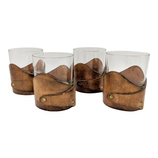 20th Century Lodge Worn Leather Wrapped Bar Glasses - Set of 4