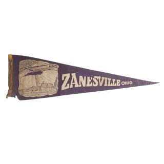 Vintage Zanesville Ohio Felt Flag Pennant For Sale