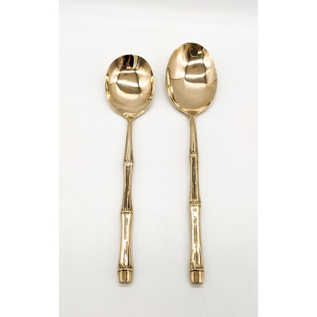 20th Century Hollywood Regency Brass Faux Bamboo Serving Set - 7 Pieces For Sale In Houston - Image 6 of 13