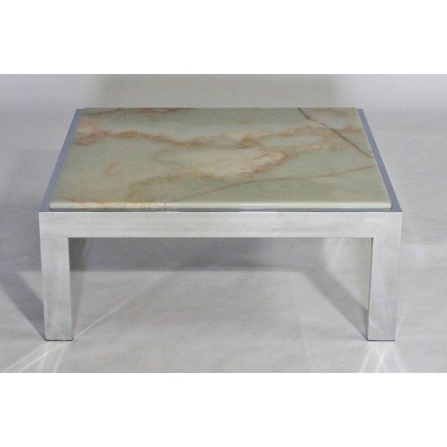 Steel and Marble Cocktail Table For Sale In Chicago - Image 6 of 6