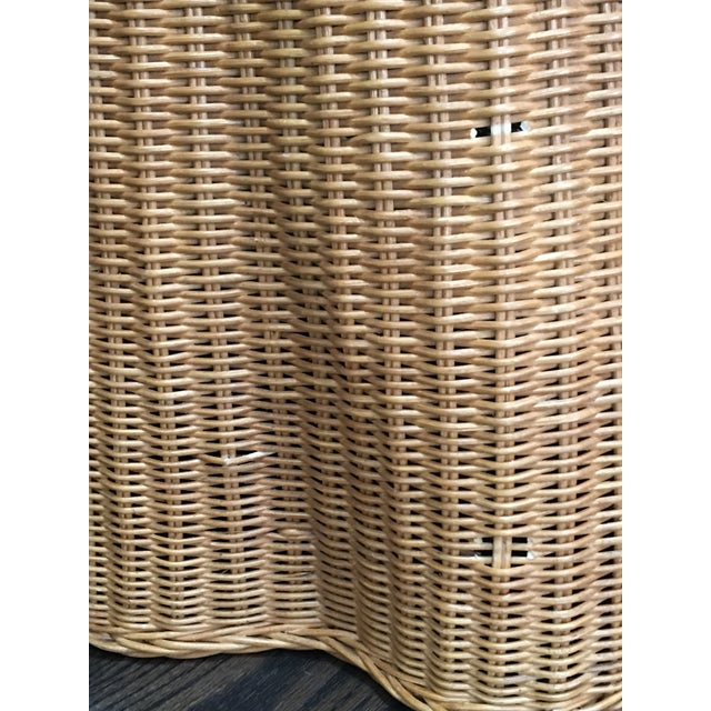 Tan 1970s Boho Chic Trompe l'Oeil Draped Wicker Rattan Ghost Table For Sale - Image 8 of 11