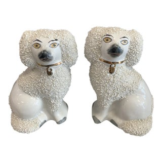 1900s Vintage Staffordshire Ware England Staffordshire Dog Figurines- A Pair