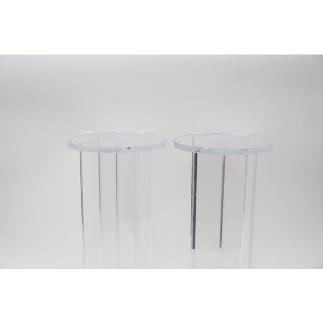 Alexander Millen Custom Bespoke Lucite Side Tables - a Pair For Sale - Image 4 of 8