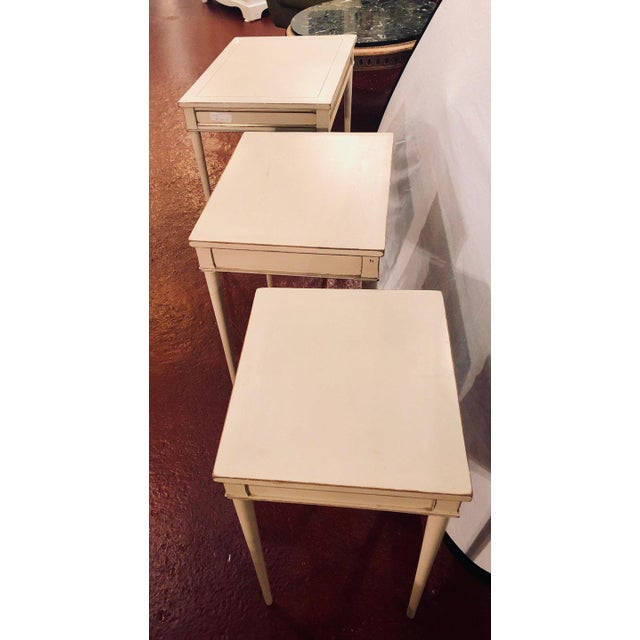 Set of Three White Painted Nesting / Stacking Tables Attributed to Jansen For Sale - Image 10 of 13