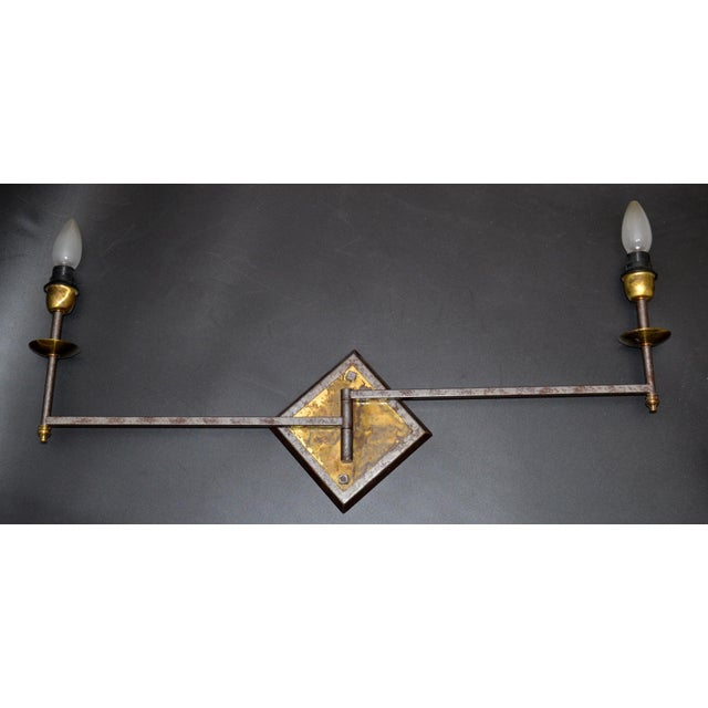French Mid-Century Modern Metal & Brass Swing Arm Sconces, Wall Lights - Pair For Sale In Miami - Image 6 of 13