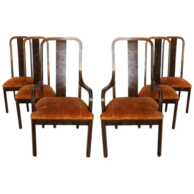 Set of Six Burl Wood and Brass Dining Chairs by Century Furniture For Sale