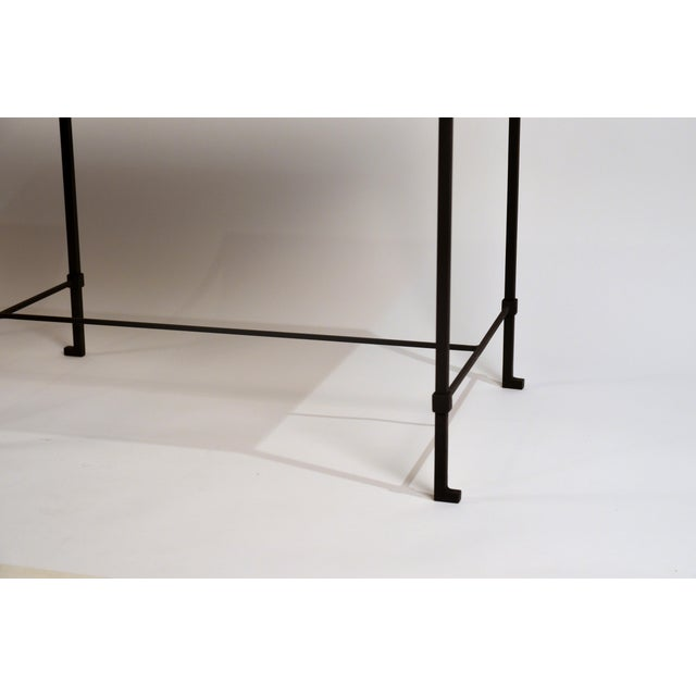 'Diagramme' Wrought Iron and Travertine Side Tables by Design Frères - a Pair For Sale In Los Angeles - Image 6 of 9