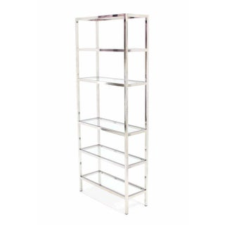 Mid-Century Modern Tall Glass 6 Tier Shelves Chrome Etageres - a Pair Preview