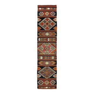 Warm Tone Mid-Century Kilim Runner | 2'3 X 10'2 For Sale