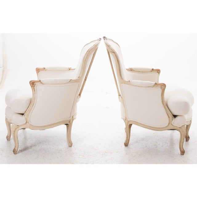 19th Century French 19th Century Louis XV Painted Bergères - a Pair For Sale - Image 4 of 11