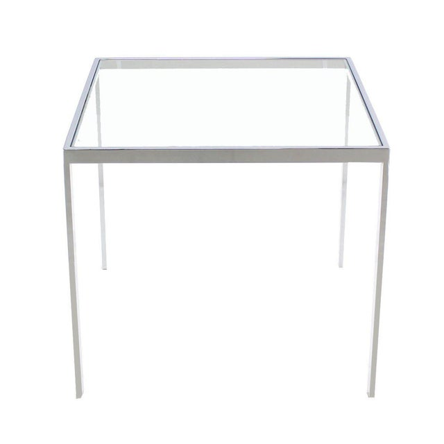 Silver Square Chrome & Glass Side Table For Sale - Image 8 of 8