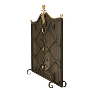 Custom Steel and Brass Fireplace Screen and Mesh For Sale